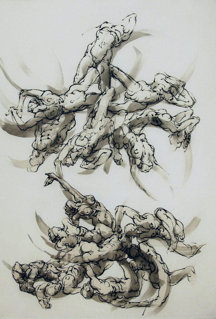 17-2019-Les liens bis- 120 x 80 cm - encre sur papier japon