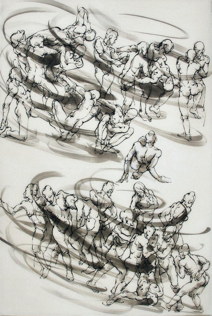 2-2020-La ronde-120 x 80 cm-encre sur papier japon-