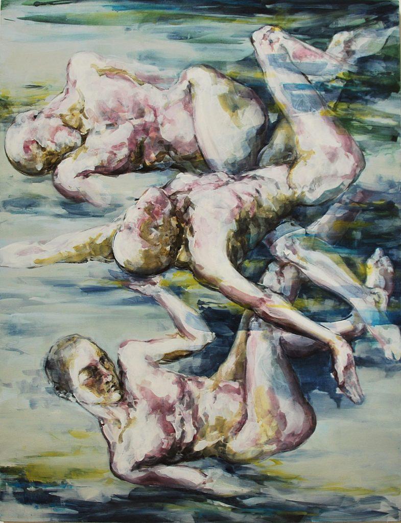 3-La chute des corps- 2016-Tempera et huile sur toile-116 x 89 cm