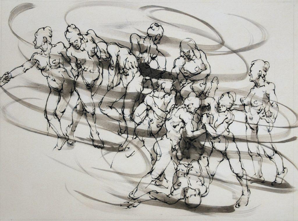 8-2020- La ronde 3-80 x 60 cm-encre sur papier japon (6)